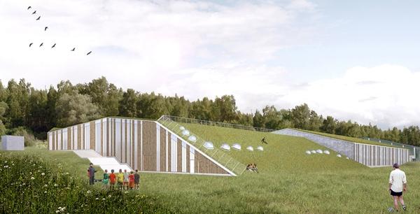 Belatchew Arkitekter_Ekebyhov Sporthall-vy från dalen