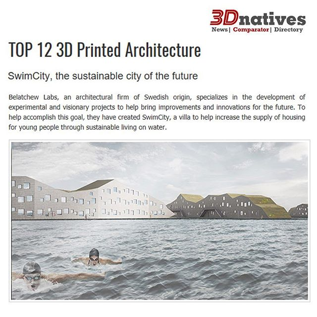 3Dnatives highlights our SwimCity project as an example of top 3d architecture.  http://www.3dnatives.com/en/3d-printed-architecture030520174/  #3dnatives #swimcity #3d #3dprint #3dprinting #betong #cement #concrete #architecture #arkitektur #maker #belatchew #belatchewarkitekter #stockholm #swim #swimming #swimmer #swimmers #belatchewlabs #lab #labs #sustainable #sustainability #sustainablearchitecture #water #sea #housing #studenthousing #studenthouse