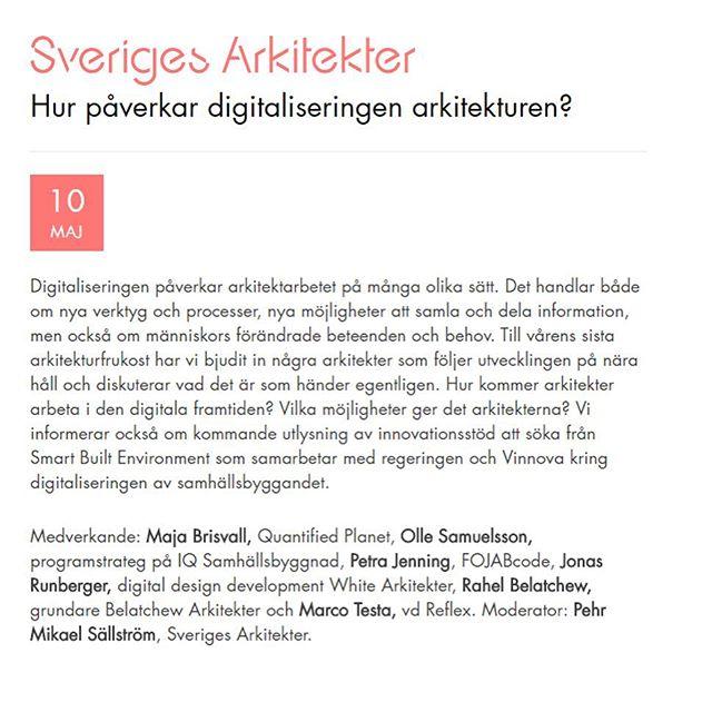 """Rahel Belatchew kommer att delta på Sveriges Arkitekters Arkitekturfrukost på temat """"Hur påverkar digitaliseringen arkitekturen?"""". Läs mer https://www.arkitekt.se/event/arkitekturfrukost-hur-paverkar-digitaliseringen-arkitekturen/  #sverigesarkitekter #digitalisering #digitization #svark #arkitekturfrukost #belatchew #rahelbelatchew #arkitektur #digital #framtid #future #SmartBuiltEnvironment #Vinnova #samhällsbyggande @rahelbelatchew @sveriges_arkitekter"""