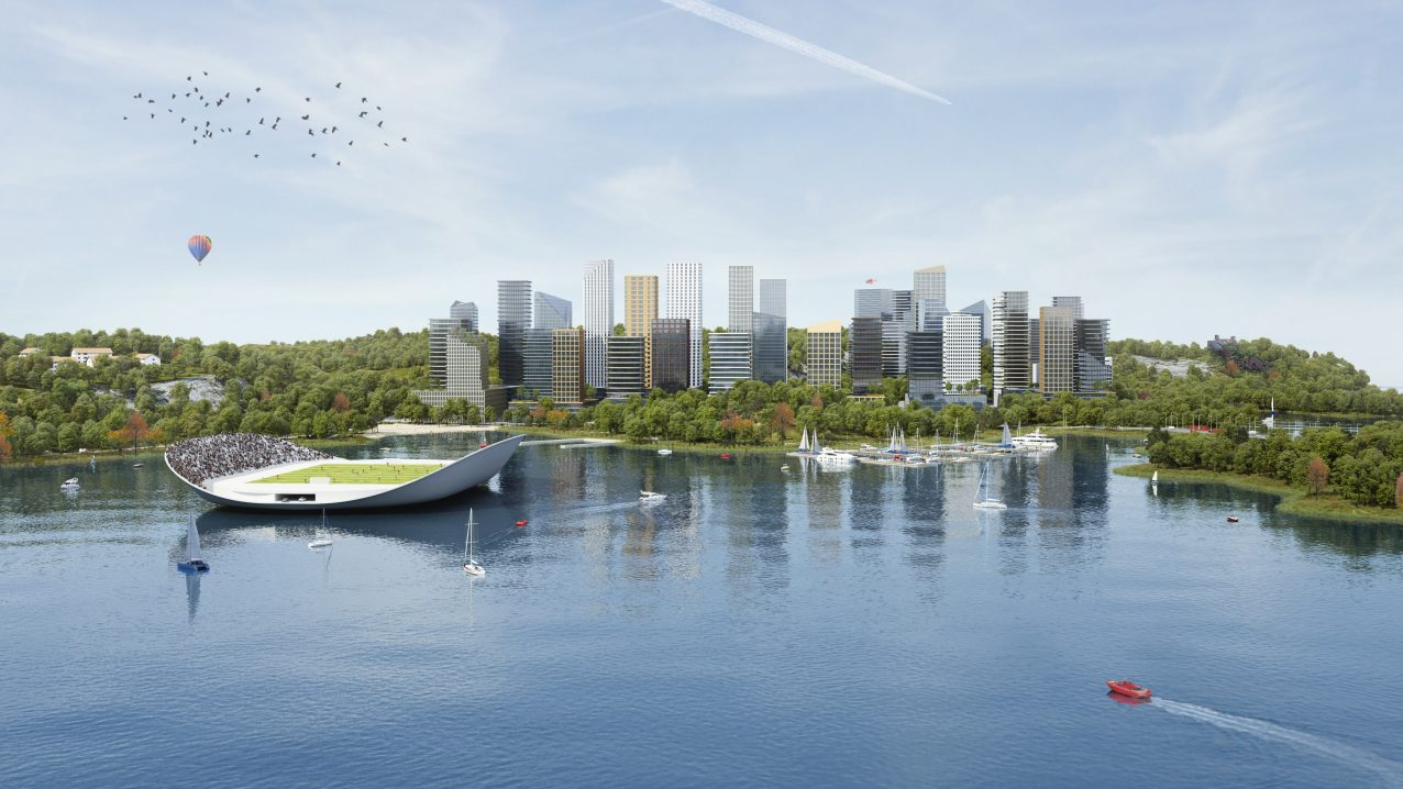 Belatchew Labs - Stockholm Loop - Masmo Skyline and FootBoat (football arena and ferry)
